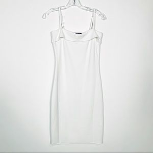 MinkPink White Ribbed Body-con Dress